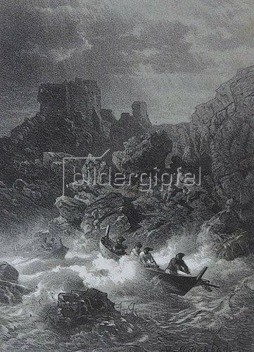 Andreas Achenbach: Altes Castell bei Porto Venere. (Vor der Schrift.)