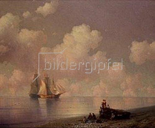 Iwan Konstantinovich Aiwassowskij: Küstenlandschaft mit Fischern und Segelschiffen.