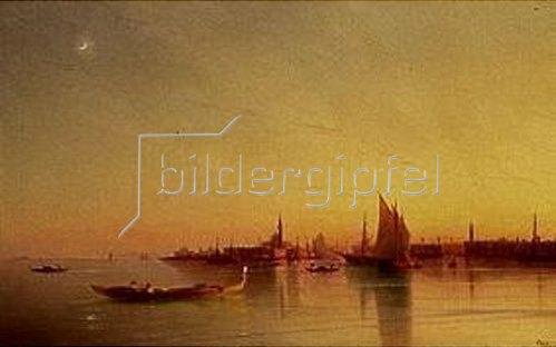 Iwan Konstantinovich Aiwassowskij: Blick von der Lagune auf Venedig bei Sonnenuntergang.