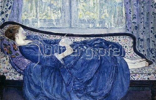 Frederick Karl Frieseke: Schlafende in Blau. 1917