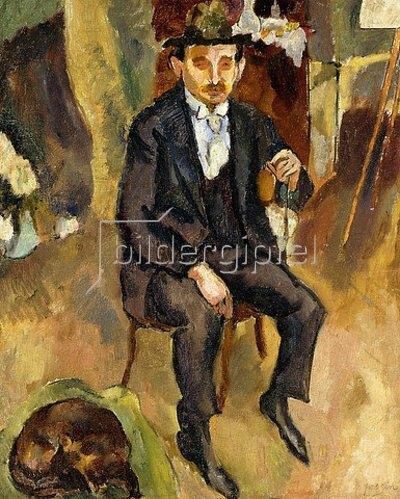 Jules Pascin: Mann mit einem Hund (Portrait eines deutschen Malers). 1912