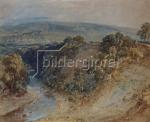 Joseph Mallord William Turner: The Valley of the Washburn, Otley Chevin in the Distance. Ca. 1815-24.