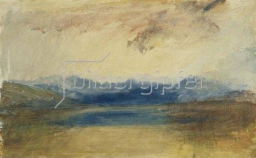 Joseph Mallord William Turner: Eine gebirge Landschaft mit einem See. / A Mountainous Landscape with a Lake. Ca. 1820er Jahre.