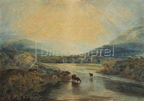 Joseph Mallord William Turner: Abergavenny Bridge, Monmouthshire: Clearing Up After A Showery Day. (Aufklaren nach einem regnerischen Tag.)