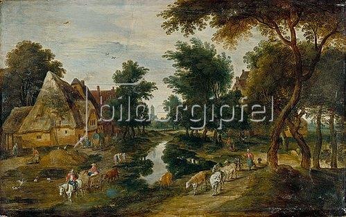 Jan Brueghel d.J.: Dorfstrasse mit Teich (Sommer).