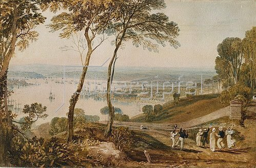 Joseph Mallord William Turner: Plymouth Dock, from near Mount Edgecumbe.