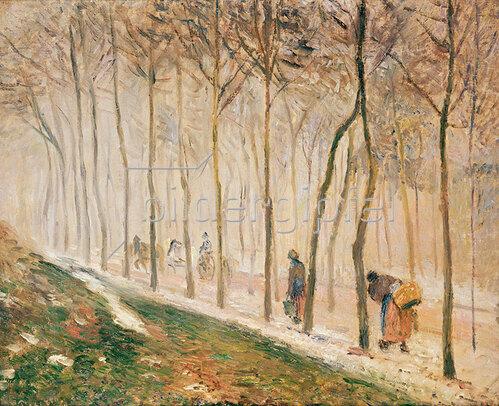 Camille Pissarro: Allee im Schnee. 1879