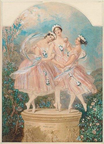 Alfred Edward Chalon: Ballerinas des letzten Jahrhunderts: Die Drei Grazien. Marie Taglioni, Carlotta Grisi und Amalia Ferraris. 1850
