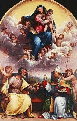 Girolamo Marchesi: Madonna mit dem Kind in der Glorie. Mit Engeln und den Heiligen Simon Petrus und Gregor dem Großen im Disput.