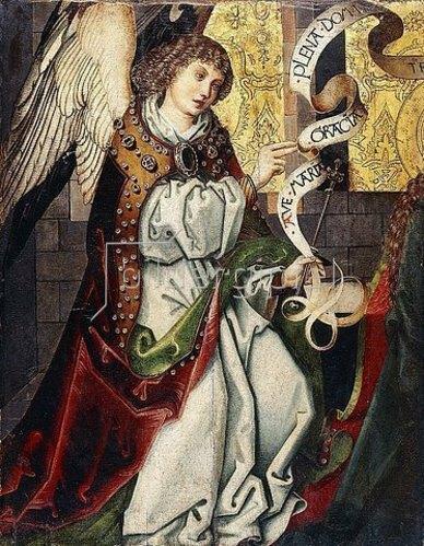 Martin Schongauer: Erzengel Gabriel (Detail einer Verkündigung).