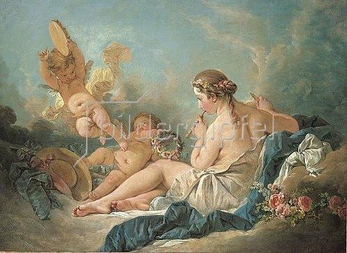 François Boucher: Eine Flöte spielende Nymphe mit Putten. Vermutlich die Muse Euterpe. 1752
