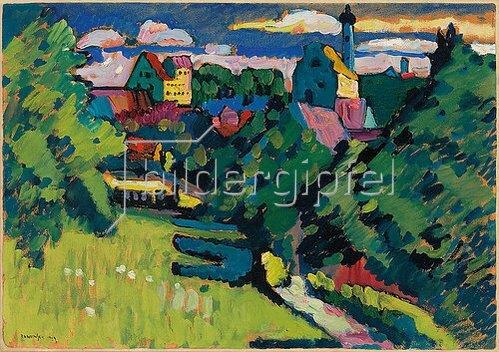 Wassily Kandinsky: Murnau - Ansicht mit Burg, Kirche und Eisenbahn. 1909