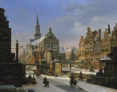 Jan Hendrik Verheyen: Winterliche Stadt-Szene.