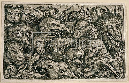 Daniel Hopfer: Köpfe grotesker Tiere.