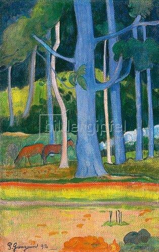 Paul Gauguin: Landschaft mit blauen Baumstämmen (Paysage aux troncs bleus). 1892