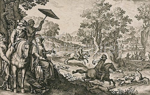 Matthäus Merian d.Ä.: Hirschjagd. Um 1616/17