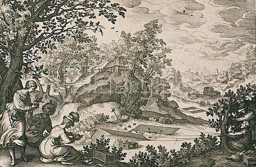 Matthäus Merian d.Ä.: Vogeljagd. Um 1616/17