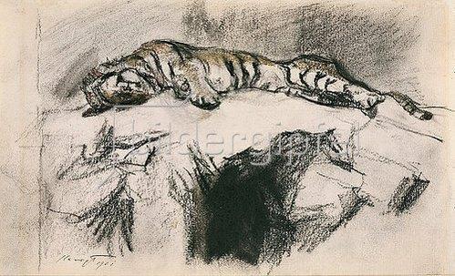 Max Slevogt: Tiger, auf einem Felsen liegend. 1901
