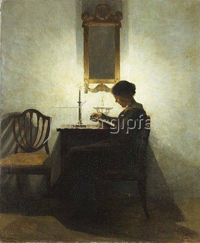 Peter Ilsted: Lesende Frau bei Kerzenschein. 1908