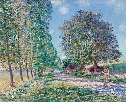 Alfred Sisley: Die Pappel-Allee bei Moret am Ufer der Loing. (L'allée des peupliers à Moret au bord du Loing.) 1890