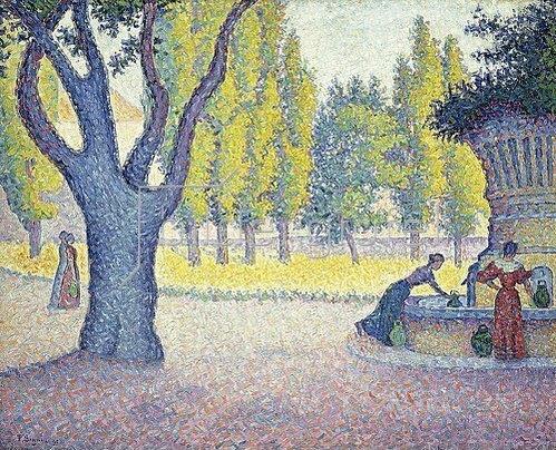 Paul Signac: Der Brunnen 'Fontaine des Lices' in St. Tropez. 1895