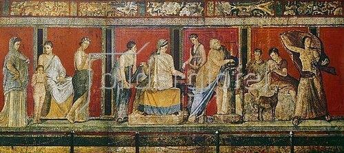 Anonym: Fresko mit der Darstellung dionysischer Mysterien. 1. Jh. n. Chr.