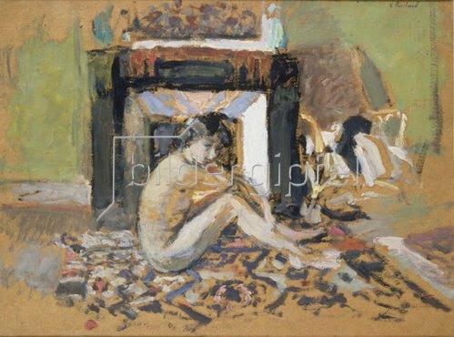 Edouard Vuillard: Frauenakt vor einem Kamin.