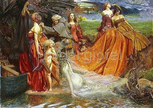 John Byam Liston Shaw: 'Now is Pilgrim Year fair Autumn's Charge'.