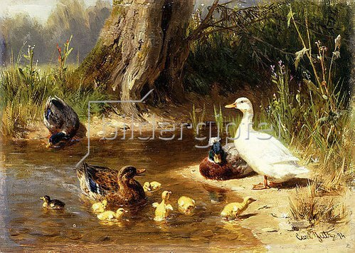 Carl Jutz: Enten an einem Teichufer. 1874