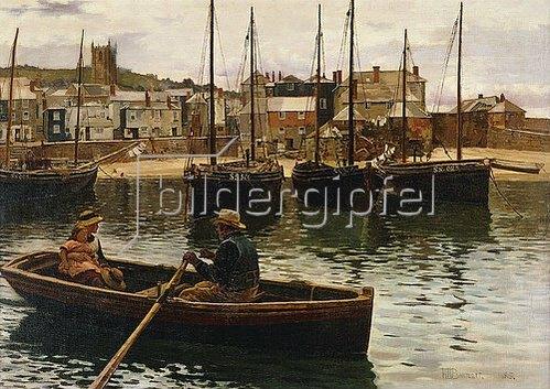 William Henry Bartlett: Im Hafen von St.Ives, Cornwall. 1885