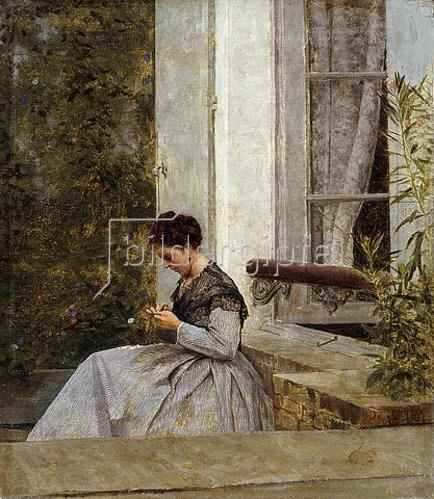 Giuseppe de Nittis: Eine Frau beim Häkeln.