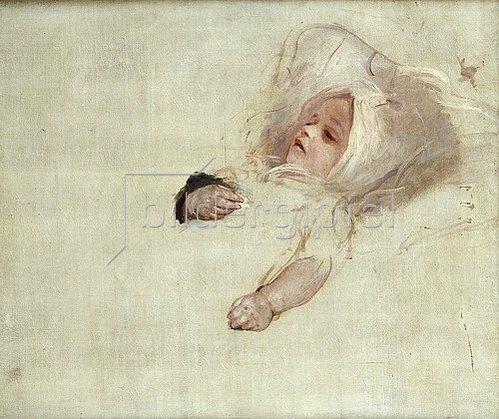 Sir Thomas Lawrence: Porträt eines Babys, Kopf und Hände. Unvollendete Skizze.