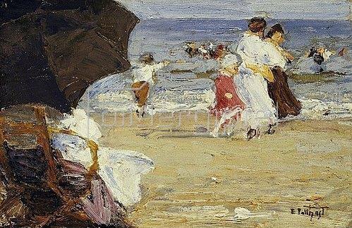 Edward Henry Potthast: The Beach Umbrella. / Der Strandschirm.