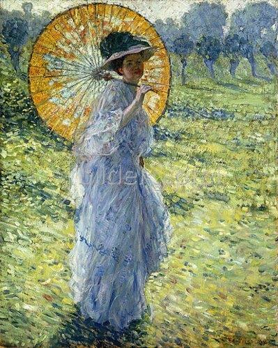 Frederick Karl Frieseke: Dame mit Sonnenschirm. Um 1906