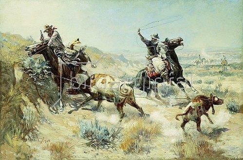 Charles Marion Russell: Cowboys beim Fangen eines Kalbes (Range Mother). 1908