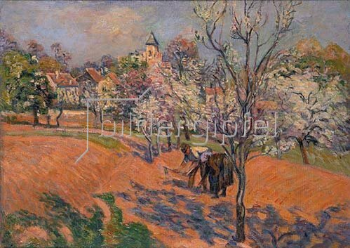 Jean-Baptiste Armand Guillaumin: Bauersleute beim Bohnensäen unter blühenden Obstbäumen.