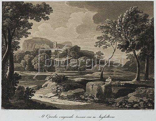 Gaspard Dughet: Landschaft mit einem Kastell über einem Wasserfall.