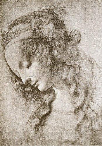 Leonardo da Vinci: Studie des Kopfes der Maria Magdalena.