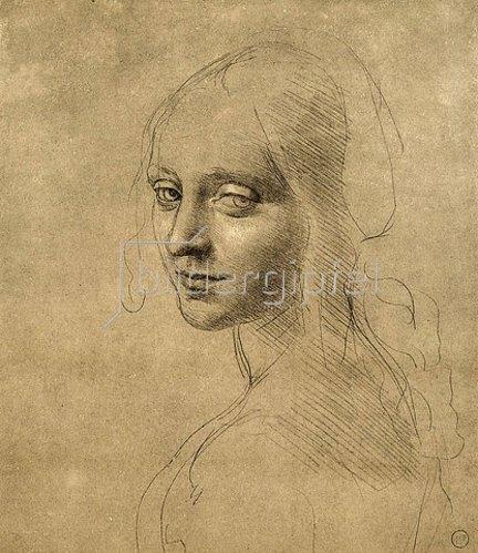 Leonardo da Vinci: Studie eines Engelgesichtes der Felsgrottenmadonna. 1473.
