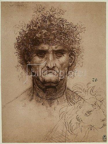 Leonardo da Vinci: Kopf eines alten Mannes.