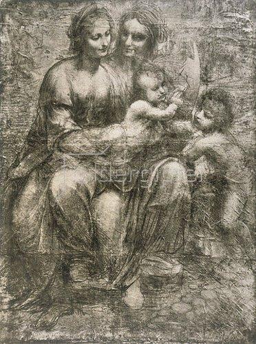 Leonardo da Vinci: Maria mit dem Kinde, mit der heiligen Anna und Johannes der Täufer als Kind.