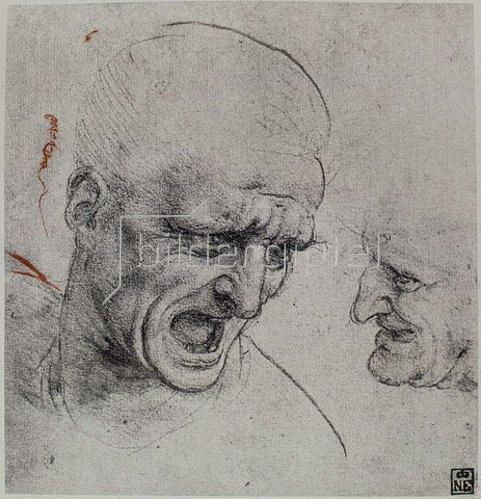 Leonardo da Vinci: Studie eines Männerkopfes für die 'Schlacht von Anghiari'. 1503/04