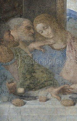 Leonardo da Vinci: Das letzte Abendmahl. Detail: Die Apostel Judas, Peter und Johannes. 1495-1497.