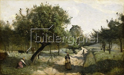 Jean-Baptiste Camille Corot: Weg mit Apfelbäumen (Le Chemin aux Pommiers). Zwischen 1850-60