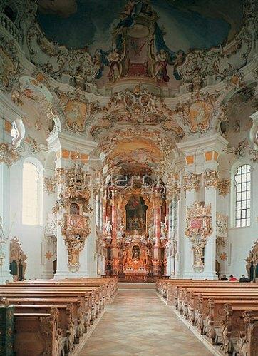 Johann Baptist Zimmermann: Wallfahrtskirche. Innenansicht des Kirchenraums. 1745-1754.