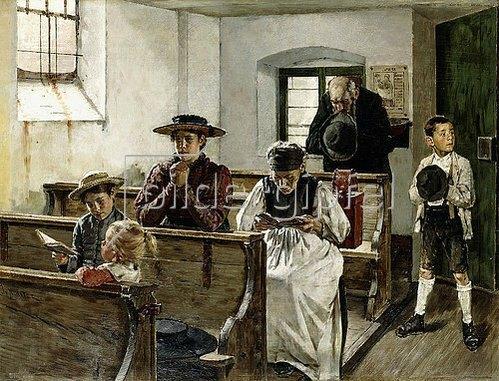 Josef Freiherr Molitor von Mühlfeld: Familie beim Kirchgang.