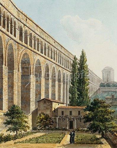 Unbekannter Künstler: Ansicht des Aquädukts in Arcueil, nahe Paris.