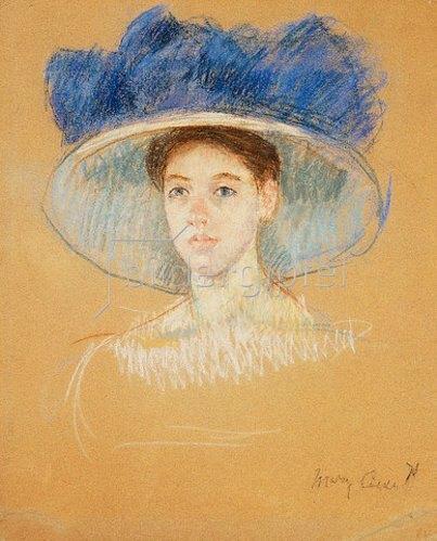 Mary Cassatt: Kopf einer Frau mit großem Hut. Um 1909