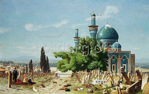 Jean-Léon Gérome: Ruhestätte. Um 1876. (Das Gemälde zeigt den Friedhof der Grünen Moschee in Bursa in der Türkei.)