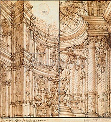 Bibiena: Zweigeteilte Skizze einer Nische eines Palasthofes mit Aufschrift Atrio deli-